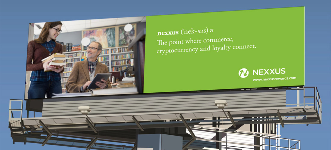 outdoor billboard for cryptocurrency company by dallas advertising agency B12 Group