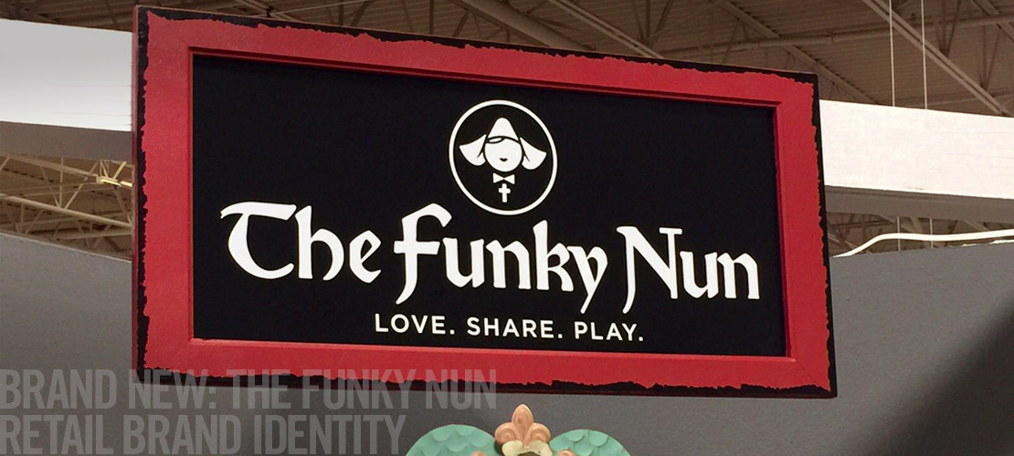 image of Funky Nun sign from the recent brand identity design section