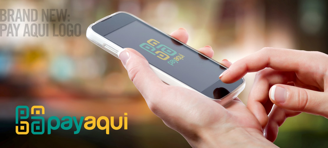 image of logo design for smart phone or mobile phone app pay aqui by dallas graphic design studio B12 Group