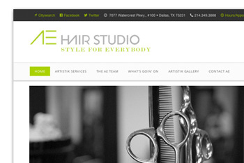 artistik edge hair studio web design portfolio sample